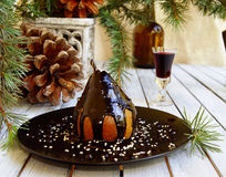 Julefterrättpäron med choklad royaltyfri foto