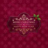 Julemblem och bakgrund royaltyfri illustrationer