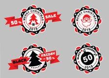 Julemblem och Black Friday emblem med bandet på grå bakgrund Sale emblem Stående av jultomten på emblemet Arkivbild