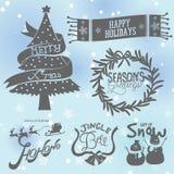 Julemblemuppsättning royaltyfri illustrationer