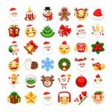 JulEmojis uppsättning royaltyfria bilder