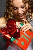 julen äter gåvan Royaltyfri Fotografi