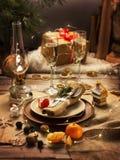 Julen bordlägger Det är en platta med en servett arkivfoto