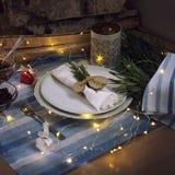 Julen bordlägger En platta med en vit servett och en filial av grönska royaltyfri fotografi