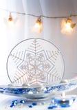 julen broderade snowflaken Fotografering för Bildbyråer