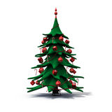 julen dekorerade den röda treen Arkivfoto