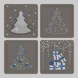 julen dekorerade pälssymbolstreen vektor illustrationer