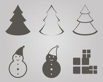 julen dekorerade pälssymbolstreen stock illustrationer