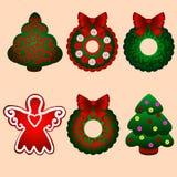 julen dekorerade pälssymbolstreen ekologiskt trä för julgarneringar Arkivbild