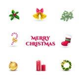julen dekorerade pälssymbolstreen Garneringuppsättning Royaltyfria Foton