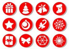 julen dekorerade pälssymbolstreen Vektoruppsättning av julattribut Royaltyfria Bilder