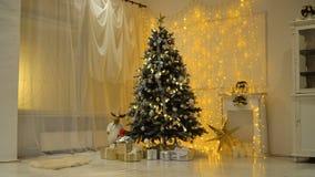julen dekorerade treen arkivfilmer