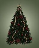 julen dekorerade treen vektor illustrationer