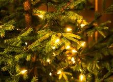 julen dekorerade treen Festlig ljus bakgrund Royaltyfri Bild