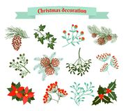 julen dekorerar nya home idéer för garnering till set vektor för elementillustration Arkivbilder