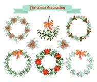 julen dekorerar nya home idéer för garnering till set vektor för elementillustration Arkivfoton