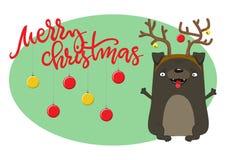 julen dog lyckligt Symbol av året 2018 Arkivfoton