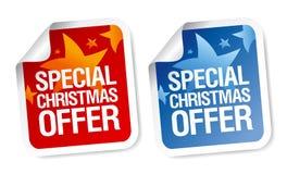 julen erbjuder specialetiketter Arkivbild
