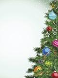 julen färgade treen för många prydnadar Arkivfoto
