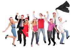 julen grupperar lyckligt folk Royaltyfri Fotografi
