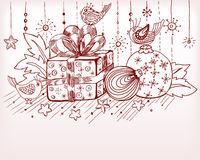 Julen hand det tecknade kortet för xmas-design Arkivfoton