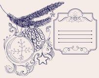 Julen hand det tecknade kortet för Xmas-design Arkivbilder