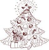 Julen hand det tecknade kortet för xmas-design Arkivbild