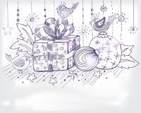 Julen hand det tecknade kortet för xmas-design Royaltyfri Fotografi