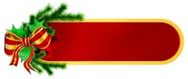 Julen inramniner med den granfilialen och bowen vektor illustrationer