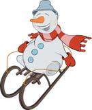 Julen kastar snöboll och åka släde. Tecknad film Arkivfoton