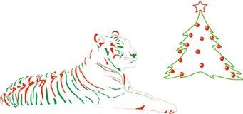 julen klädde upp tigern royaltyfri illustrationer