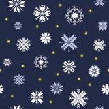 julen mönsan seamless Blå modell med vita snöflingor och guld- stjärnor stock illustrationer