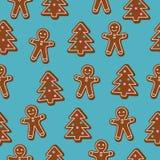 julen mönsan seamless Brun pepparkakaman och julgrankakor på blå bakgrund Stock Illustrationer