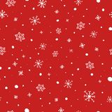 julen mönsan seamless vita röda snowflakes för bakgrund Fallande snövektormodell Textur för vinterferier stock illustrationer