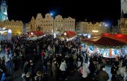 julen market den gammala prague fyrkantiga townen Royaltyfria Bilder