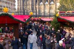 Julen market i cologne, germany Arkivfoto