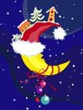 julen moon nytt s-vektorår Royaltyfri Illustrationer