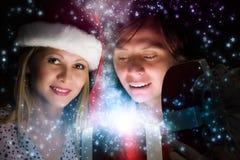 julen någon den strumpor görade randig överrrakningen trippar till treexmas Royaltyfri Fotografi