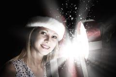 julen någon den strumpor görade randig överrrakningen trippar till treexmas Royaltyfria Foton