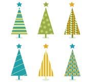 julen planlägger den skraj retro treen Arkivbild