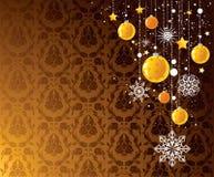 julen planlägger guld- royaltyfri illustrationer