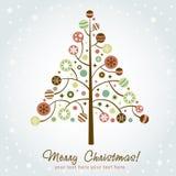 julen planlägger den stylized treen royaltyfri illustrationer