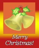 Julen sätta en klocka på kortet Arkivbild