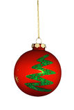 julen smyckar den runda treen Royaltyfri Fotografi