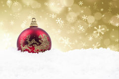 Julen smyckar med guld- defocused lampor royaltyfri illustrationer