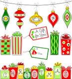 Julen smyckar och gåvaseten Royaltyfria Bilder