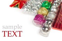 julen smyckar packad prövkopiatext Royaltyfria Foton