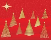 julen sparar vektorn för nio den stylized trees Arkivfoton