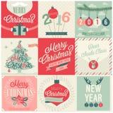 Julen ställde in - etiketter, emblems och andra dekorativa element royaltyfri illustrationer