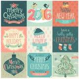 Julen ställde in - etiketter, emblems och andra dekorativa element stock illustrationer